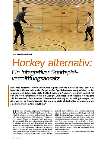 HOCKEY ALTERNATIV: EIN INTEGRATIVER SPORTSPIELVERMITTLUNGSANSATZ