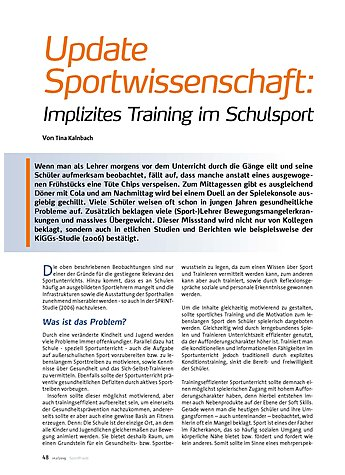 UPDATE SPORTWISSENSCHAFT: IMPLIZITES TRAINING IM SCHULSPORT