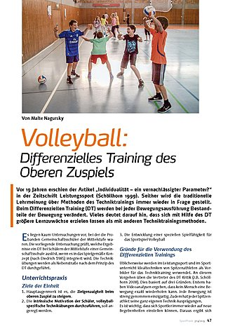 VOLLEYBALL: DIFFERENZIELLES TRAINING DES OBEREN ZUSPIELS